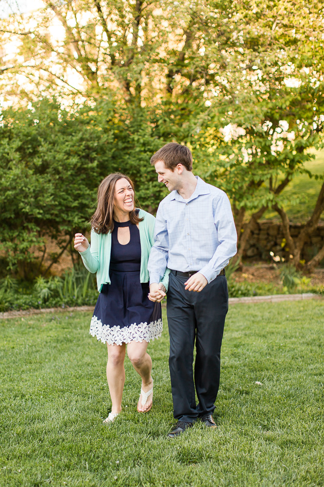 Walking and laughing through the garden