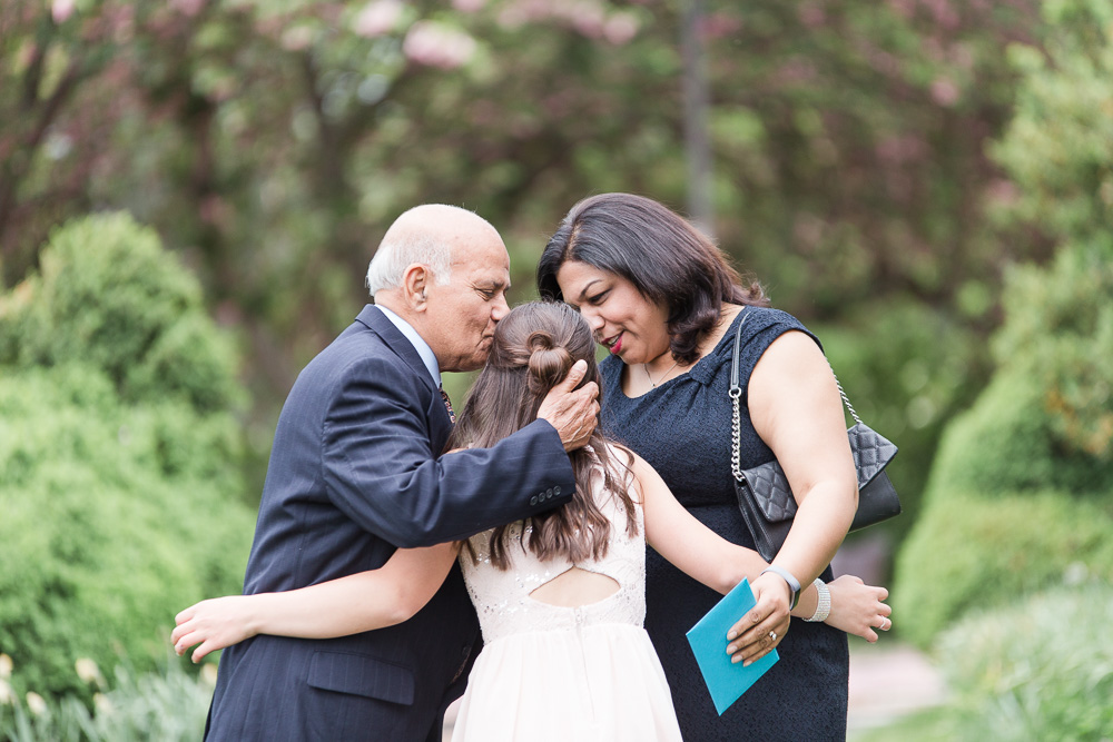 A sweet hug from Abby's Bat Mitzvah guests