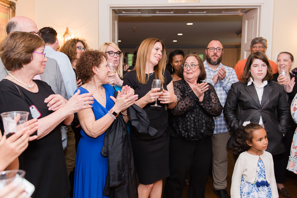 Bat Mitzvah guests applauding during the speeches