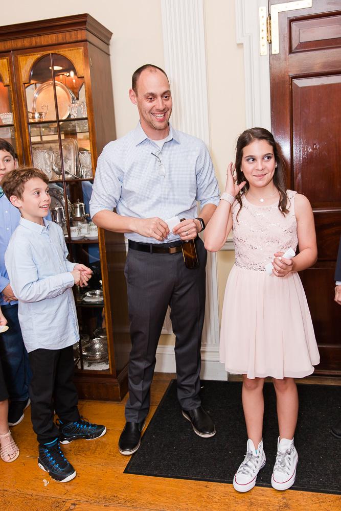 Cute family photo during father's Bat Mitzvah speech | Rockville MD Bat Mitzvah