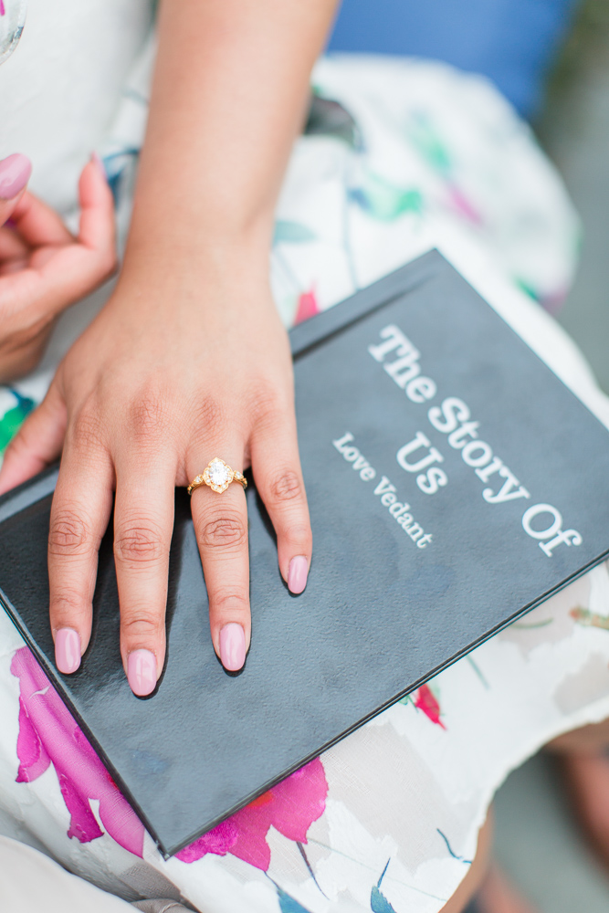 The Story of Us book used for the proposal | Engagement ring from Isabel Bond