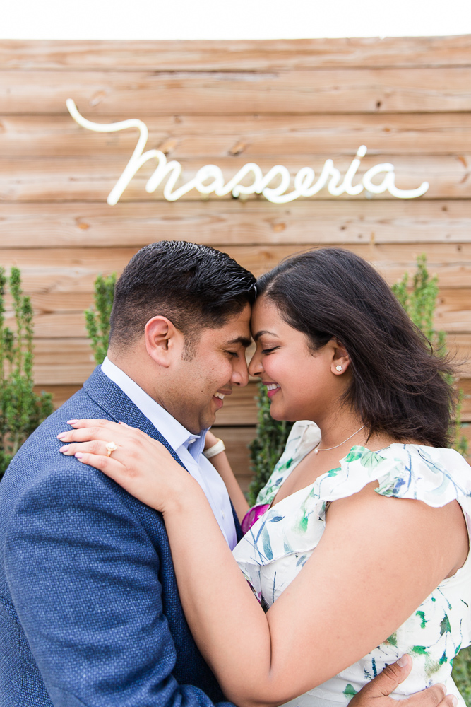 Engagement pictures in front of Masseria Restaurant | Union Market Engagement | Megan Rei Photography