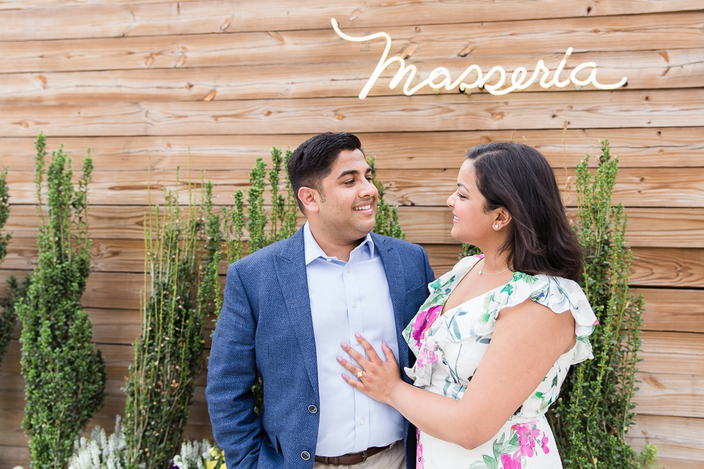 Happy couple after he proposed at Masseria DC | Best restaurants in DC | Best Proposal Spots in DC
