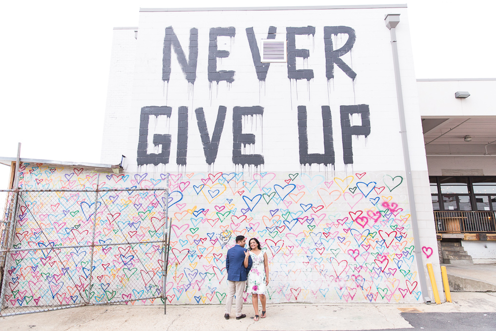 Never Give Up mural and heart wall at Union Market | DC Engagement Photographer | Megan Rei Photography