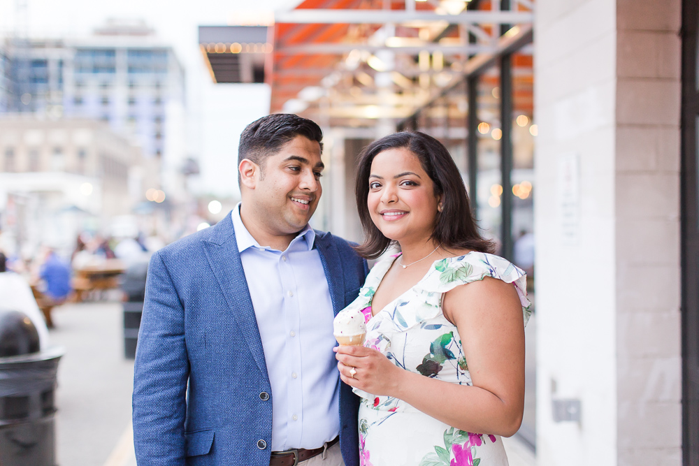 Outside of Union Market with an ice cream cone | Washington DC Engagement Picture Locations