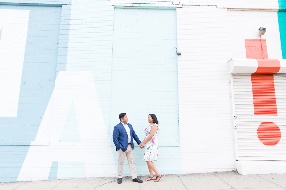 Engagement pictures by the murals near Union Market | Washington DC Engagement Photography | Best Places in DC for Engagement Session