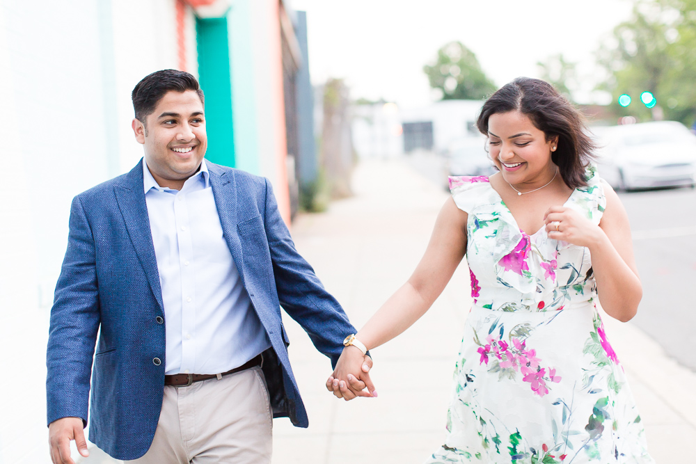Happy couple after the surprise proposal at Masseria and Union Market | Washington DC Engagement Photo Locations