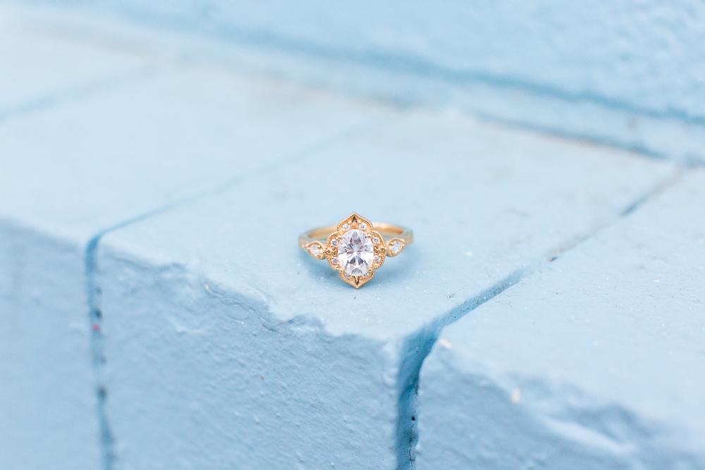 Beautiful engagement ring from Isabel Bond | Union Market Engagement Photos | Washington DC Proposal