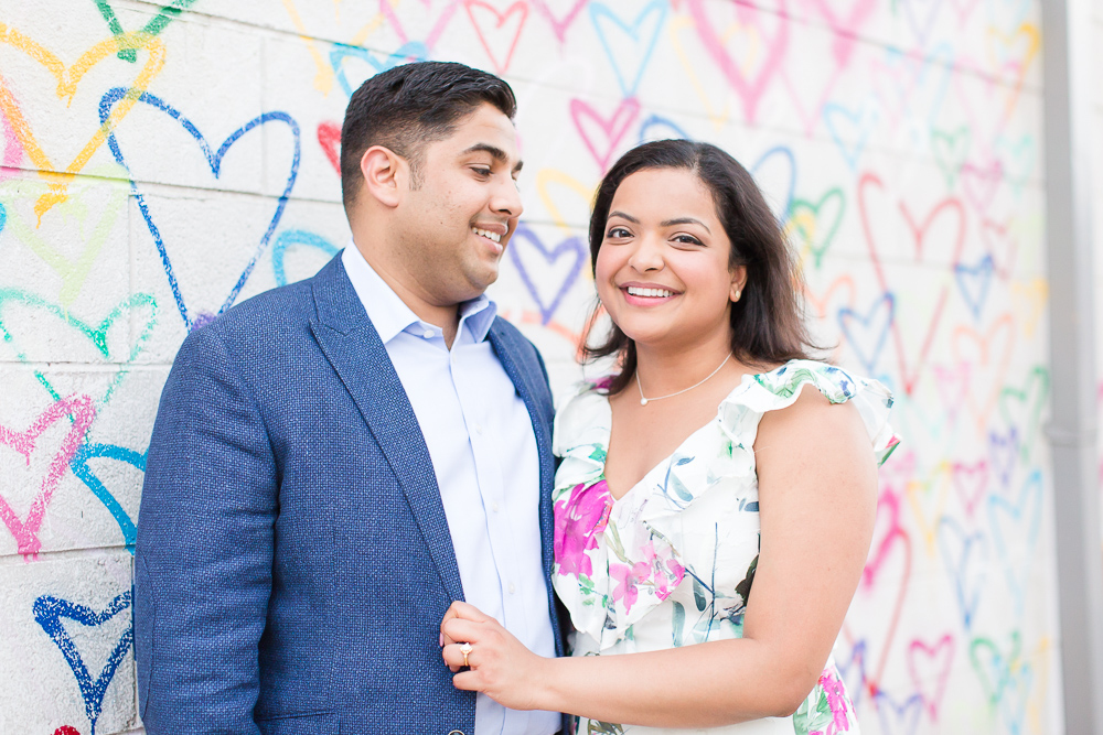 Newly engaged couple at the heart wall, Union Market | DC Proposal Photographer | Megan Rei Photography