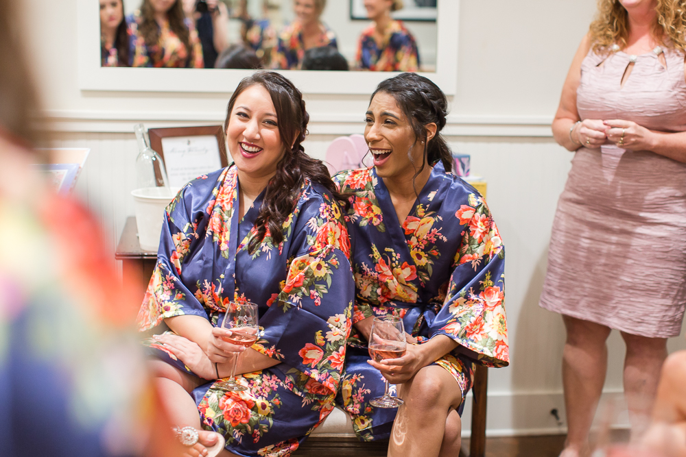 Bridesmaids laughing | Candid wedding photography in Crozet, Virginia