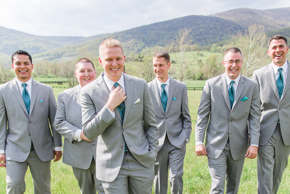 Groom and groomsmen with Blue Ridge Mountains in the background