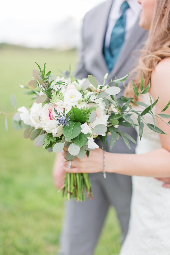 White, green, and blush wedding bouquet from Foxtail Cottage Floral | Best florists near Charlottesville, Virginia