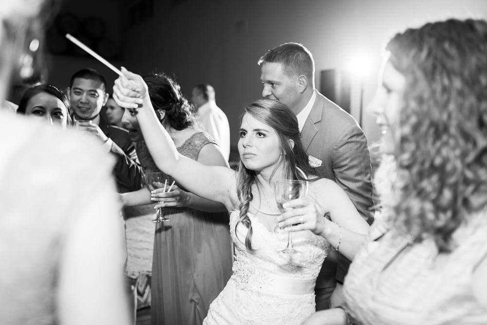 Bride having fun dancing on her wedding day