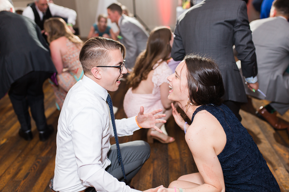 Candid dance floor photo of wedding guests enjoying music from Guyton Mobile DJ | Best Crozet Virginia Wedding DJs
