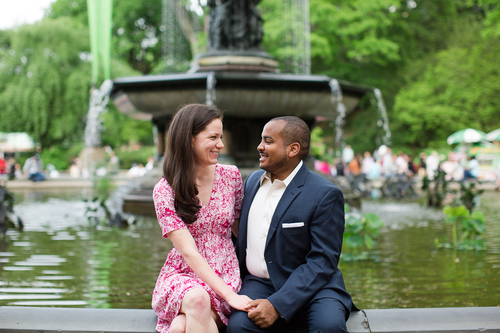 Engagement photo in front of the Bethesda Fountain in Central Park | Bethesda Terrace Engagement Session