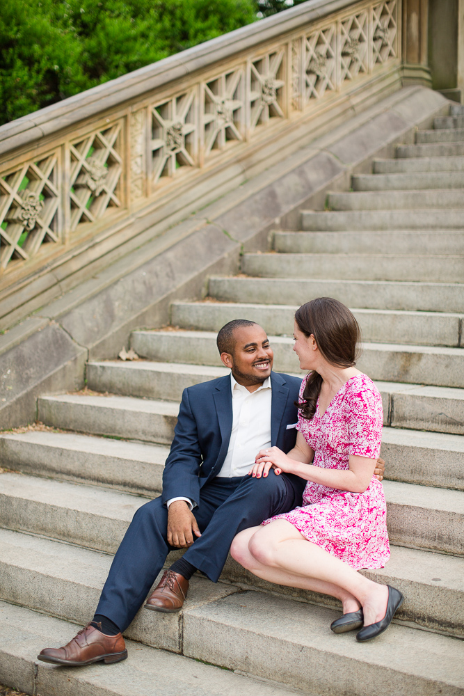 Engagement picture on the staircase at Central Park | New York City Wedding Photographer | Megan Rei Photography