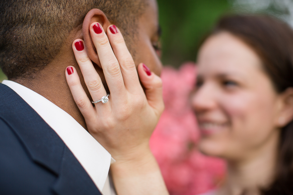 Close up photo of the engagement ring during photo shoot in Central Park
