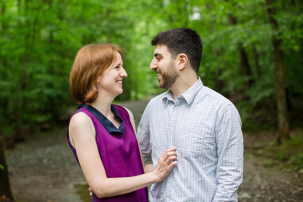 Smiling couple at Scott's Run in McLean, VA