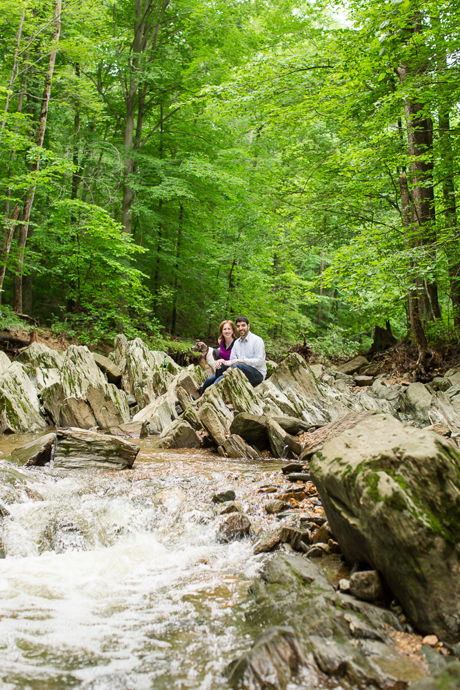 Engagement photos in the creek at Scott's Run | Nature lovers engagement | Megan Rei Photography