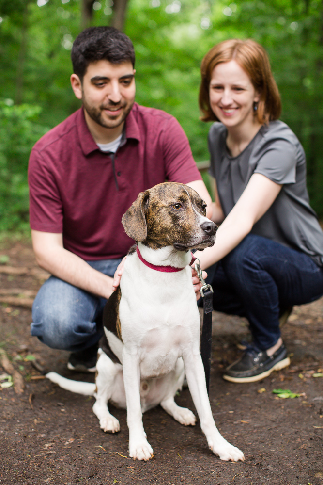 Dog lovers engagement photos | Hiking the trails at Scott's Run in Northern Virginia | Megan Rei Photography