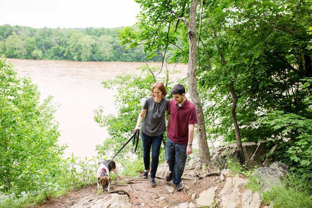 Walking their dog along the Potomac River