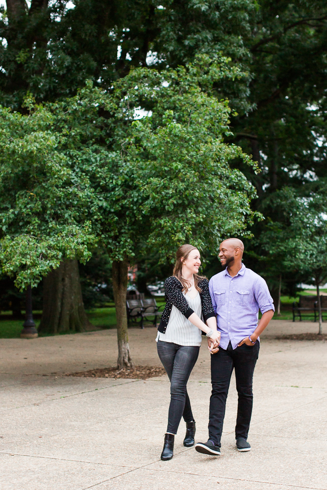 Walking hand in hand at Lincoln Park, Washington DC | DC Engagement photography