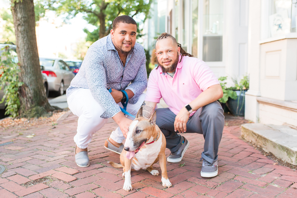 Dog dads with their bull terrier