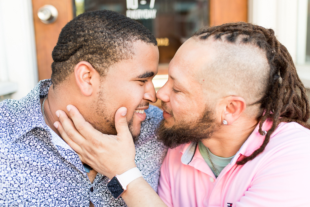 Going in for a kiss | Gay engagement photographer in Northern Virginia
