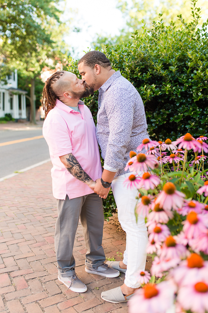 Gay couple kisses on the sidewalk in Old Town Alexandria | LGBT-friendly photographer in Northern Virginia