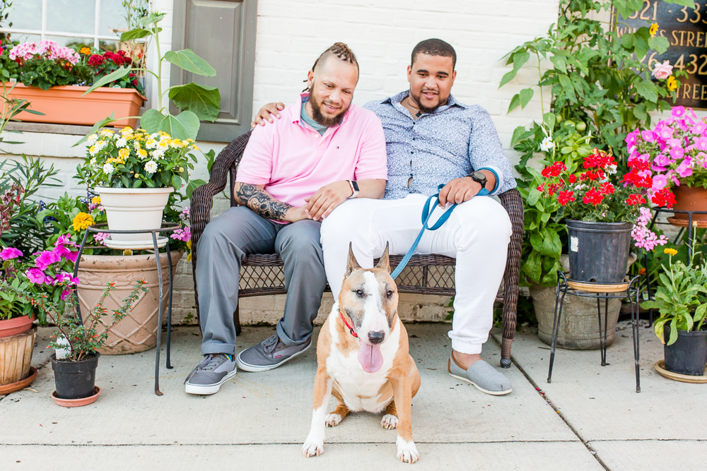 Gay couple with their dog during photo shoot in Alexandria, Virginia
