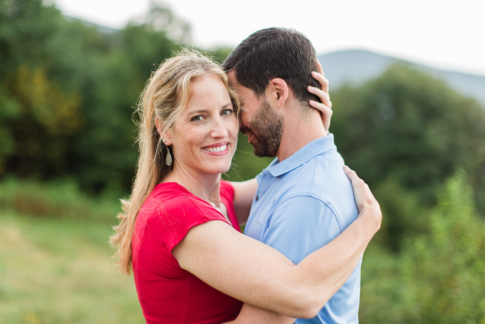Happy engaged couple on the Appalachian Trail in Shenandoah National Park   Luray Wedding Photographer