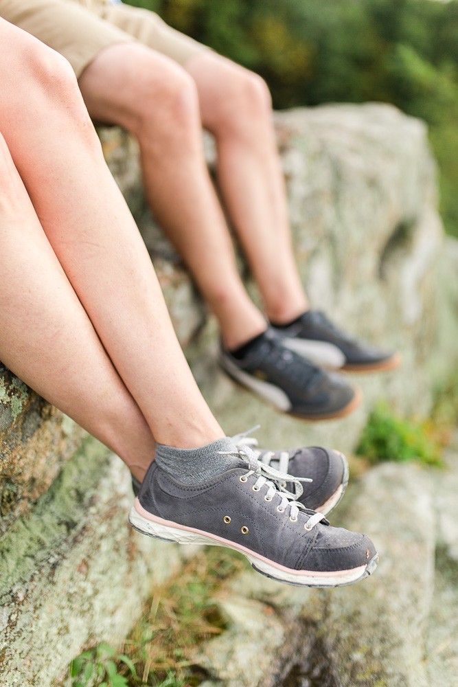 Hiking shoes on the rocks of Skyline Drive overlook