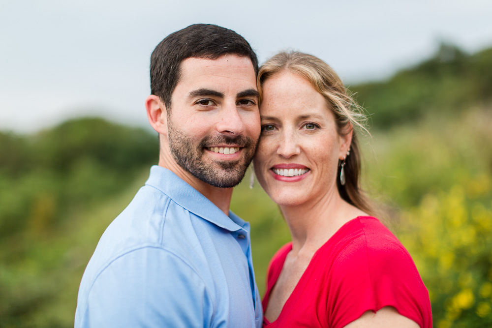 Smiling engagement picture in the Blue Ridge Mountains   Shenandoah Wedding Photographer