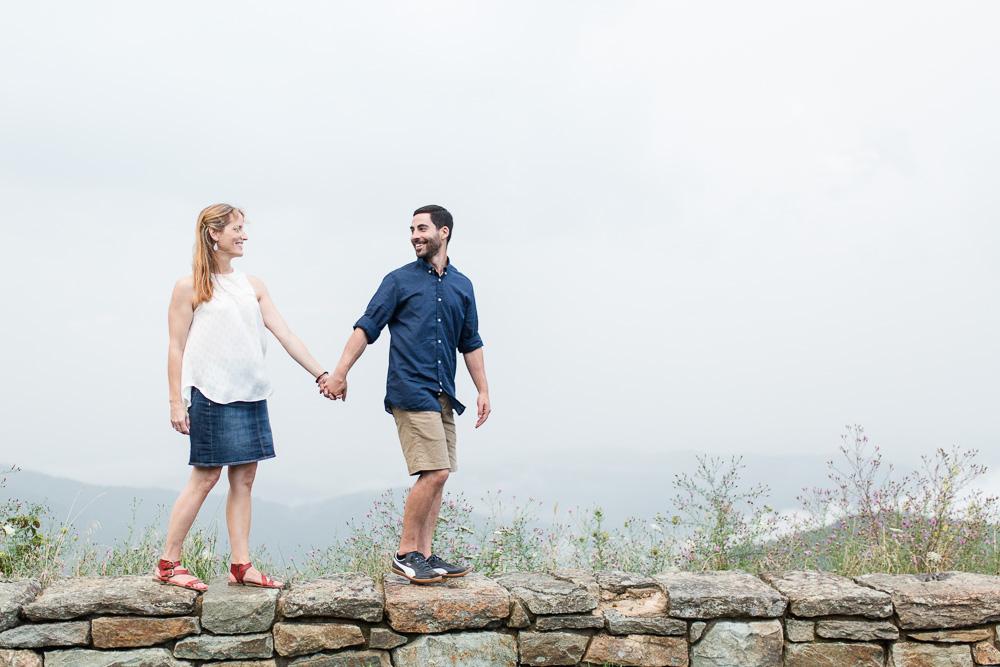 Skyline Drive overlook engagement   Shenandoah Wedding Photographer