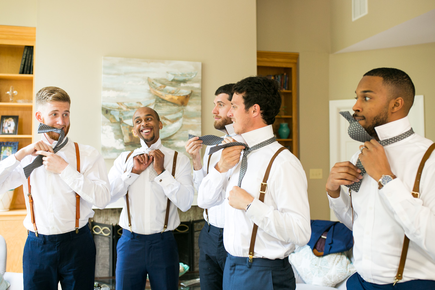 Groomsmen getting ready for wedding day
