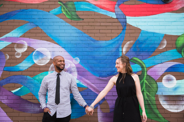 Washington DC engagement photos with murals
