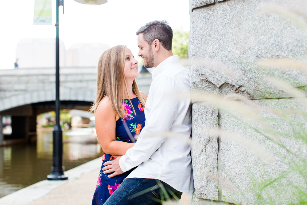 Happy couple during their engagement session on the Richmond Canal Walk