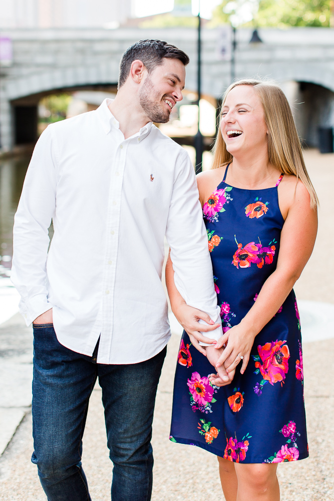 Candid laughing engagement pictures along the canal | Candid Richmond Photographer