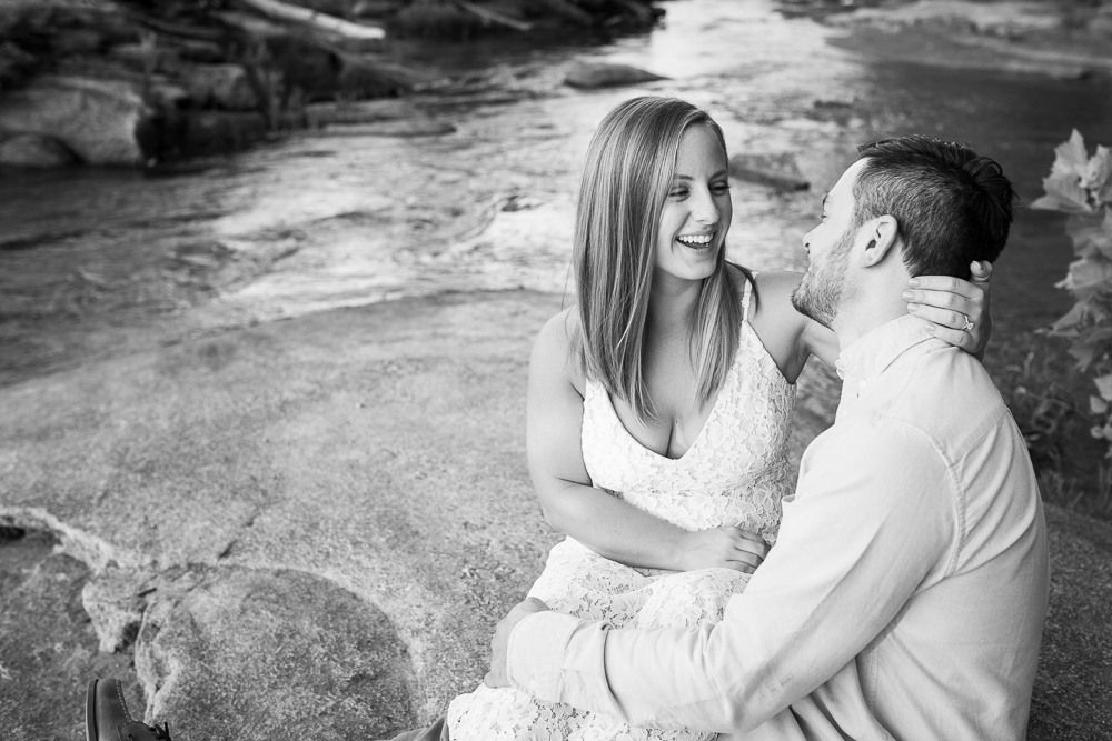 Belle Isle engagement photos on the rocks by the James River