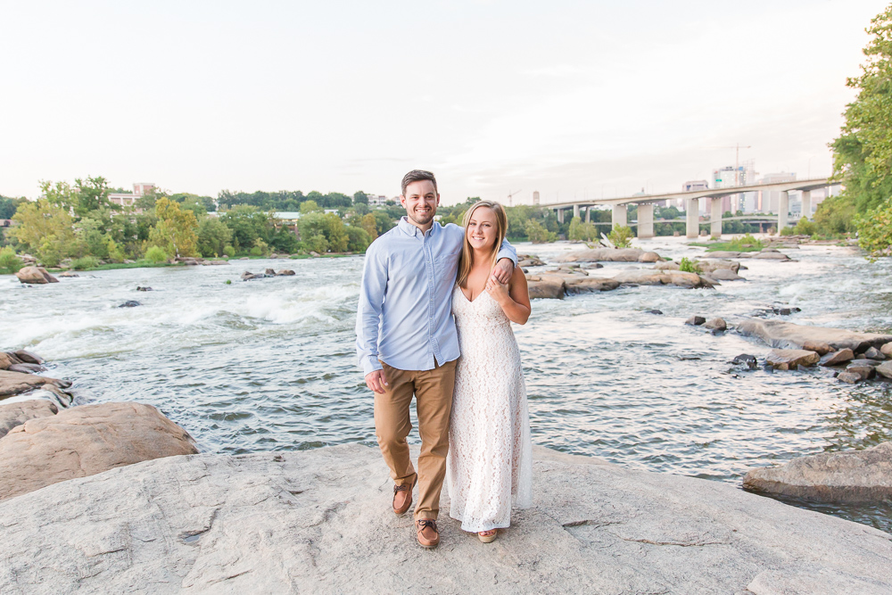 Belle Isle Richmond Virginia engagement pictures on the rocks | Best places for engagement pictures in Richmond