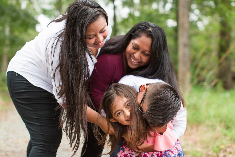 Family tickle fight in Manassas, Virginia
