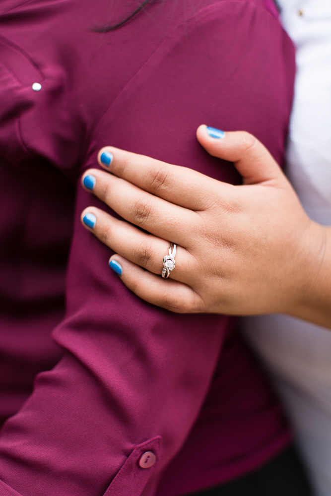 Close up photo of engagement ring after the surprise proposal