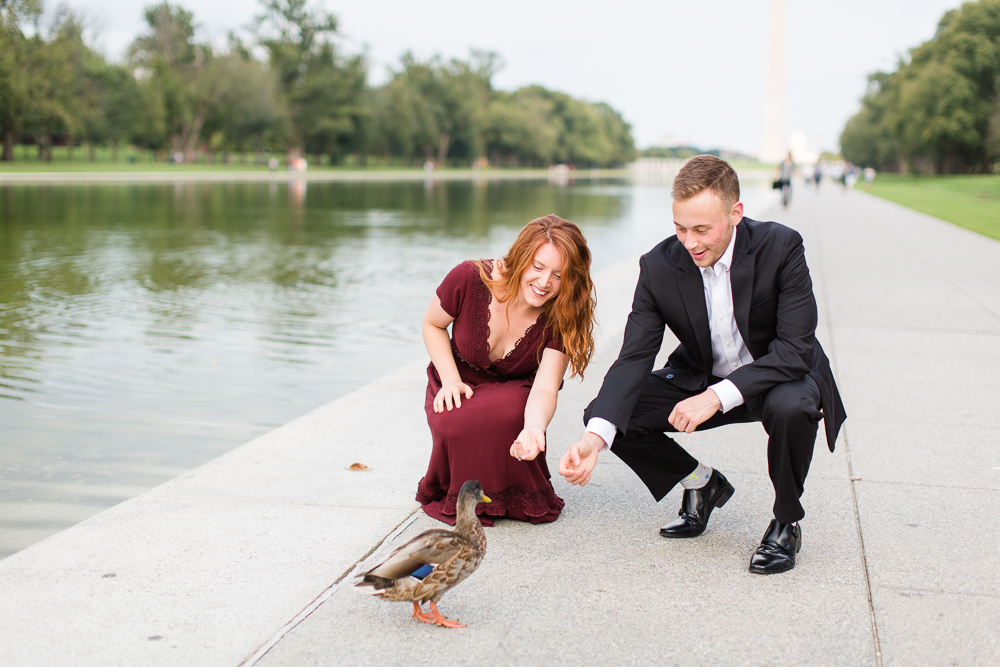 Feeding ducks by the Reflecting Pool | Candid DC photographer