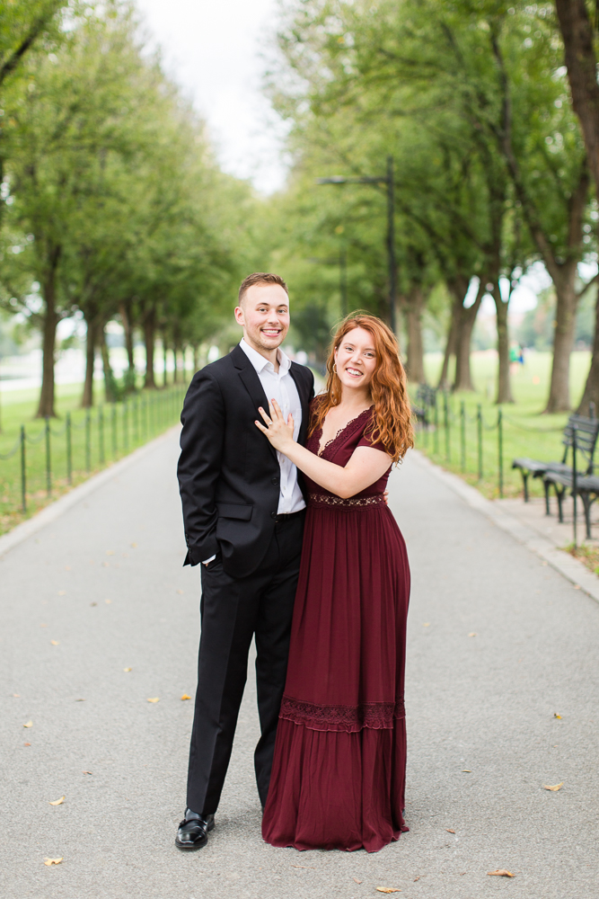 Posing on the path of the National Mall for engagement pictures