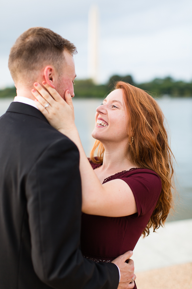 Candid photo in front of the Tidal Basin | DC monuments engagement session