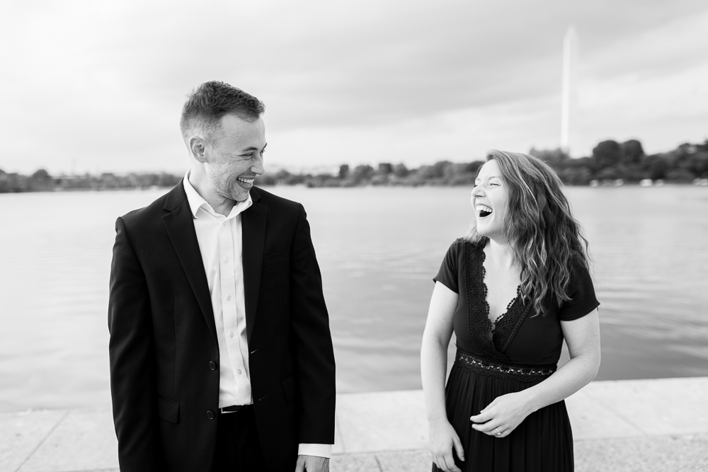 Candid laughing engagement photo