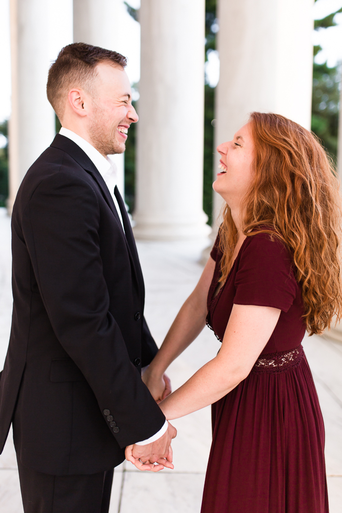 Candid engagement photos in Washington DC