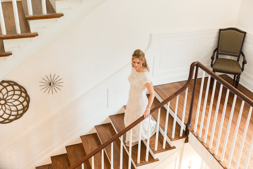 Bride walking down the staircase at Rust Manor House | Leesburg Wedding Photographer