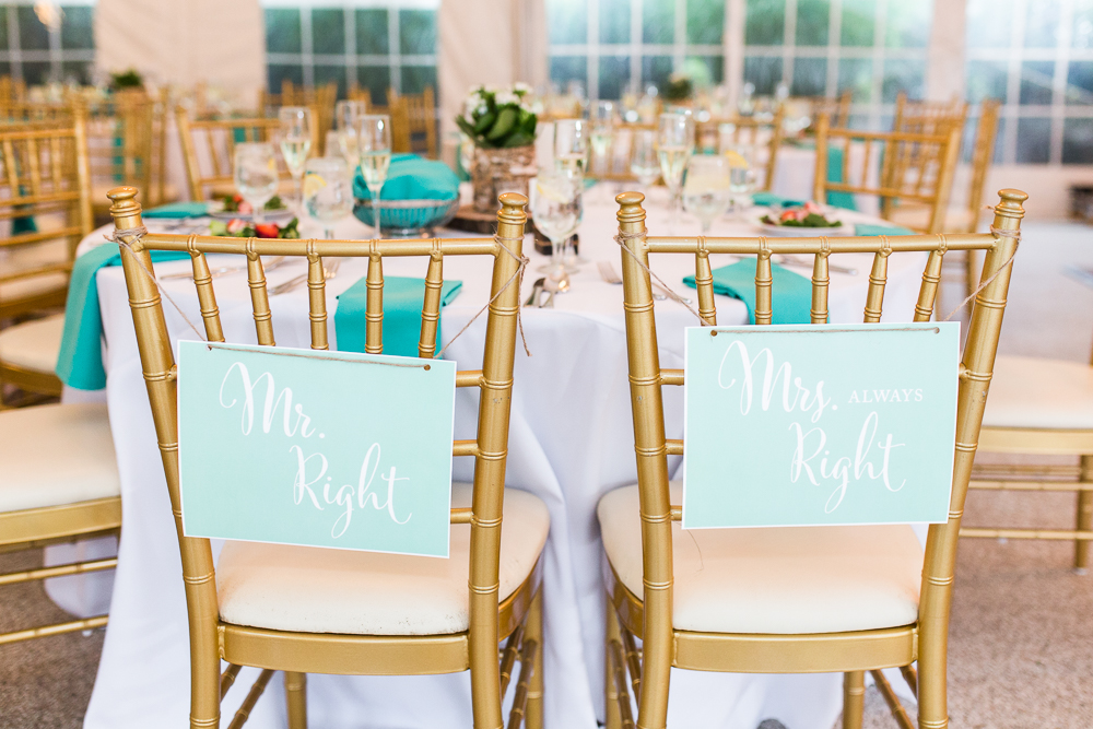 Mr. Right and Mrs. Always right chair signs for bride and groom
