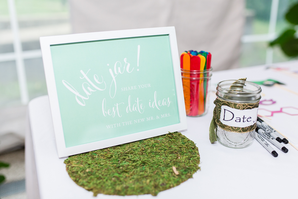 Date night idea jar for wedding guestbook